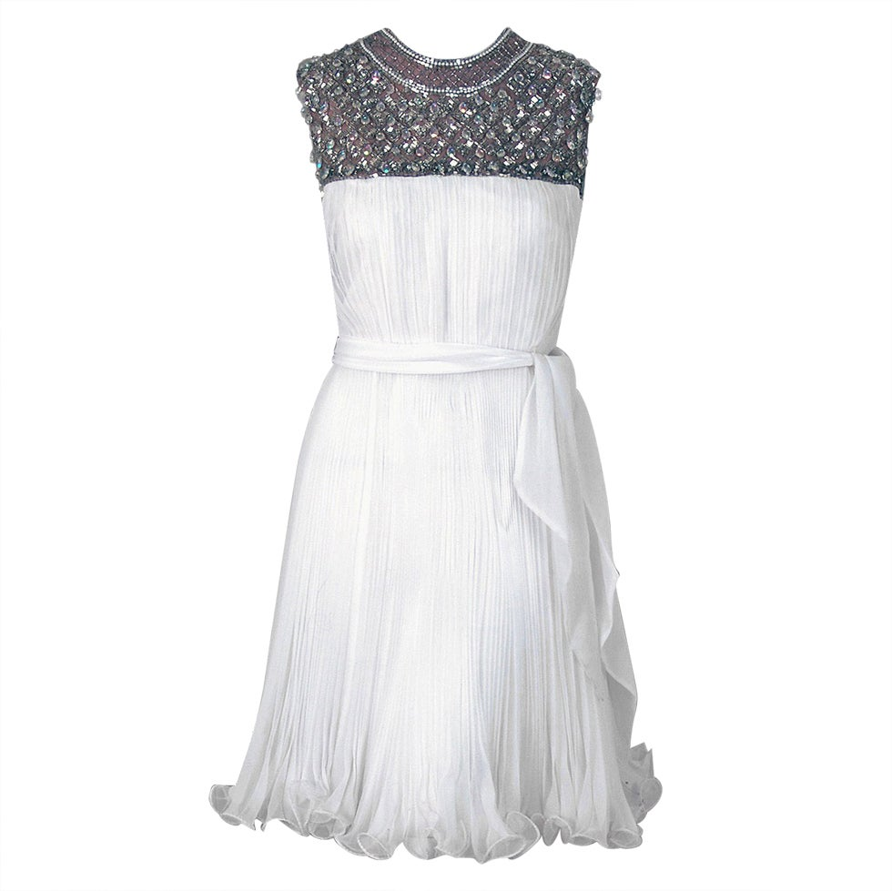 1960's Crisp-White Beaded Pleated Chiffon Goddess Cocktail Dress For Sale