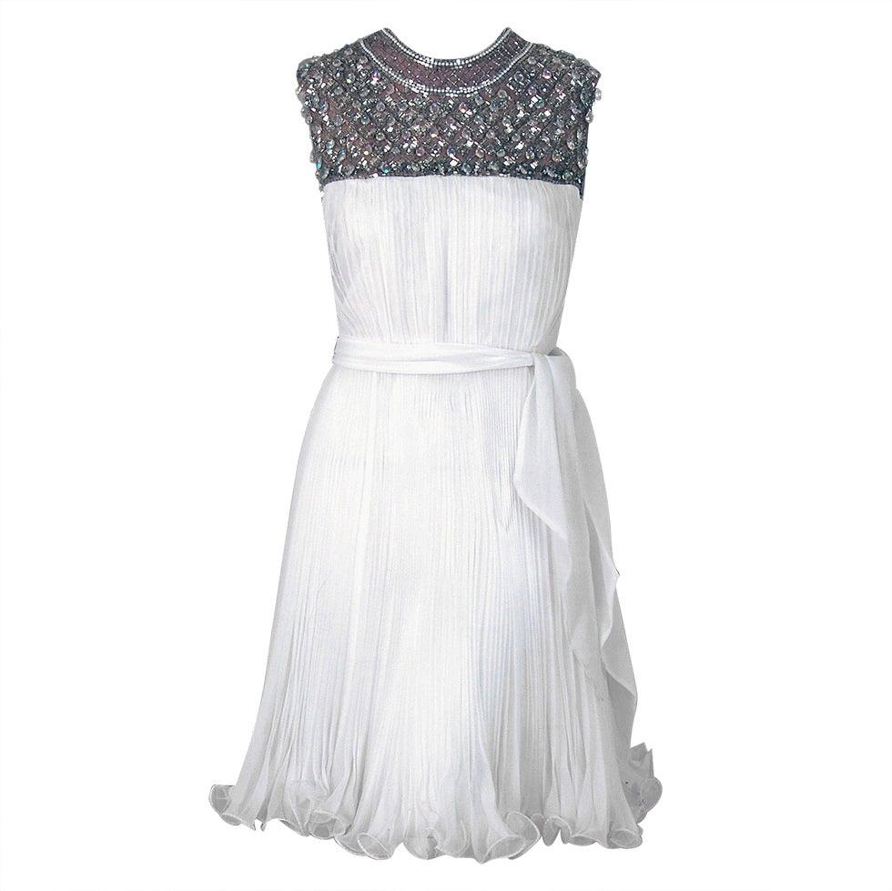 1960's Crisp-White Beaded Pleated Chiffon Goddess Cocktail Dress 1