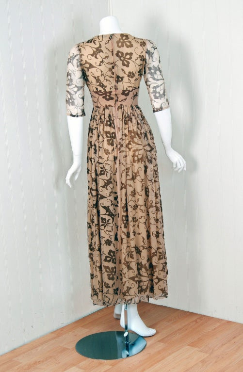 1970's Thea Porter Gold Beige Print Smocked Silk-Chiffon Dress For Sale 1