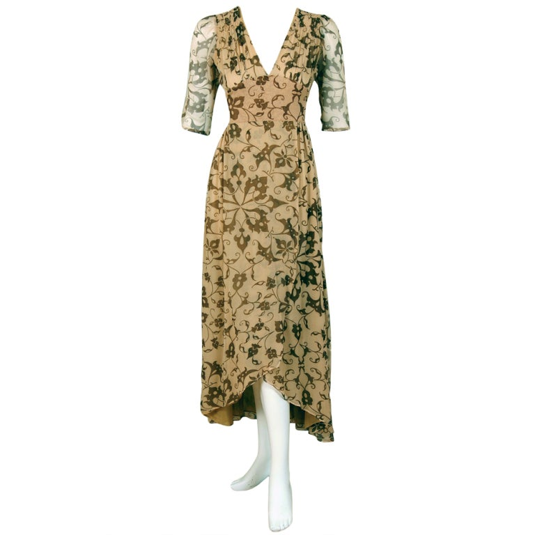 1970's Thea Porter Gold Beige Print Smocked Silk-Chiffon Dress For Sale