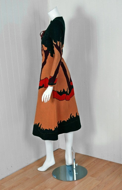 1970 Norma Kamali Couture Rare Scenic Novelty Applique Felt Lace-Up Dress 3