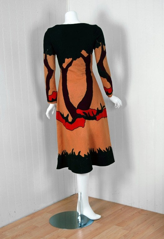 1970 Norma Kamali Couture Rare Scenic Novelty Applique Felt Lace-Up Dress 4