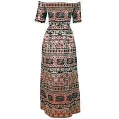 1960's Oscar de la Renta Metallic Silk Brocade Off-Shoulder Gown