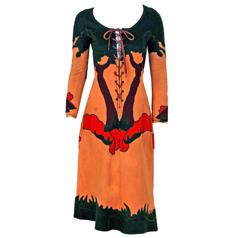 1970 Norma Kamali Couture Rare Scenic Novelty Applique Felt Lace-Up Dress 1