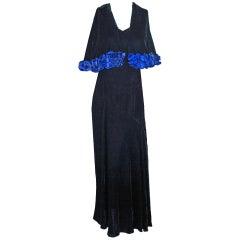 1932 Molyneux Haute-Couture Applique Floral Silk-Velvet Gown