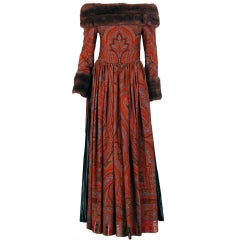 1970's Lanvin Iconic Paisley Mink Fur Russian Haute-Couture Gown