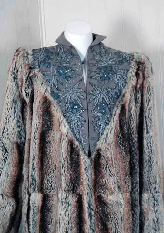 1930's French Couture Beaded Embroidered Novelty Gabardine & Chinchilla Fur Coat 2