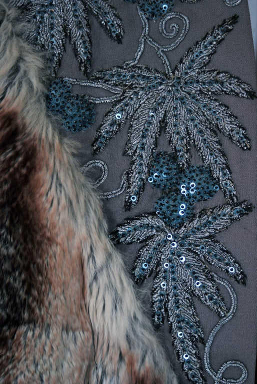 1930's French Couture Beaded Embroidered Novelty Gabardine & Chinchilla Fur Coat 3
