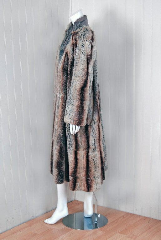 1930's French Couture Beaded Embroidered Novelty Gabardine & Chinchilla Fur Coat 4