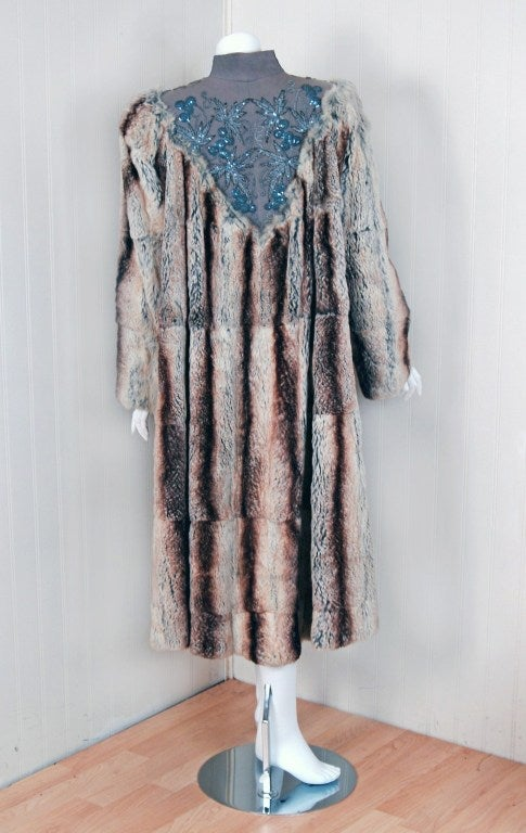 1930's Luxurious Beaded Embroidered Gabardine & Chinchilla-Fur Couture Coat 5