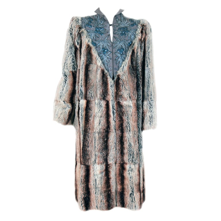 1930's Luxurious Beaded Embroidered Gabardine & Chinchilla-Fur Couture Coat 1