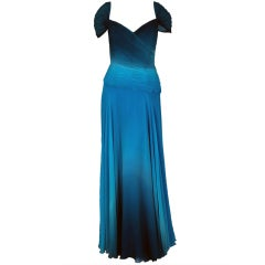 1970's Vicky Tiel Blue-Ombre Ruched Silk-Chiffon Grecian Gown