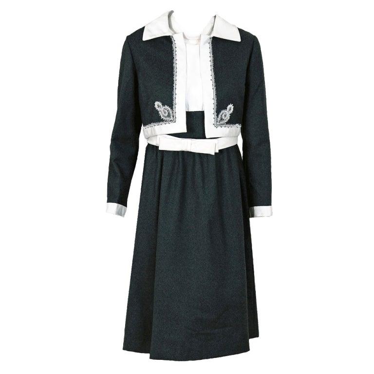 1960's Malcolm Starr Beaded Rhinestone Gray Wool & Ivory Silk Mod Dress Suit