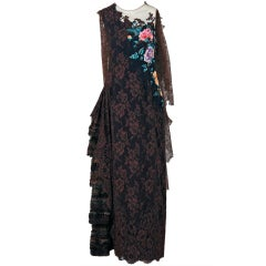 1991 Christian Lacroix Applique Beaded Haute-Couture Lace Gown