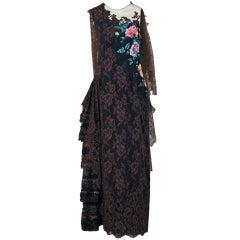 1991 Christian Lacroix Applique Beaded Haute-Couture Lace Gown