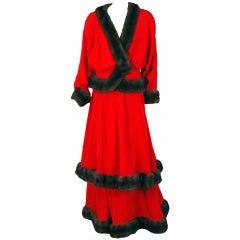 1970's Jeanne Lanvin Iconic Silk & Mink Fur Haute-Couture Gown