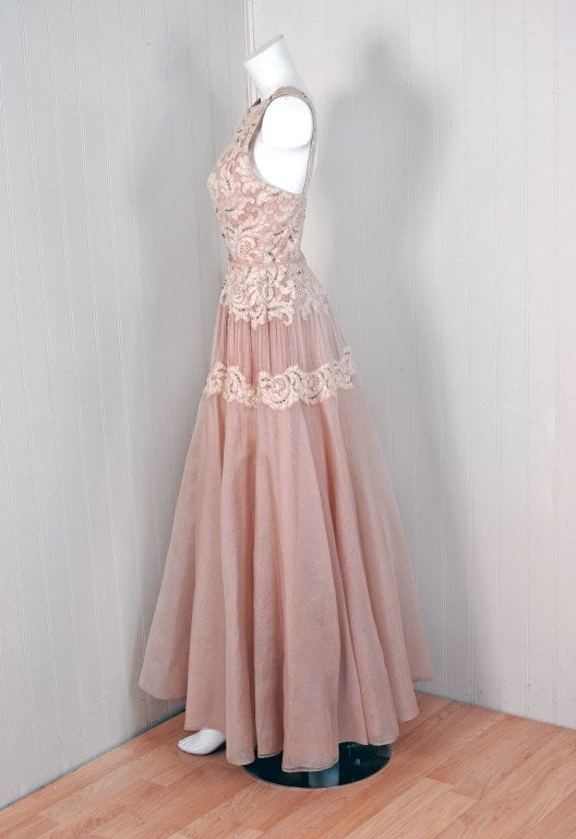 1950's Elizabeth Arden Beaded Champagne Organza & Lace Gown 2
