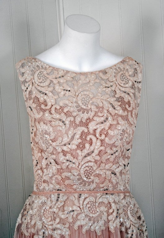 1950's Elizabeth Arden Beaded Champagne Organza & Lace Gown 3