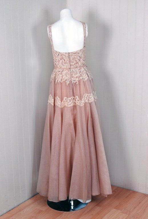1950's Elizabeth Arden Beaded Champagne Organza & Lace Gown 6