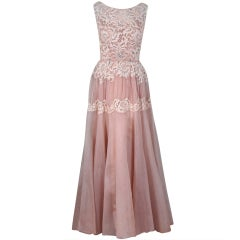 1950's Elizabeth Arden Beaded Champagne Organza & Lace Gown