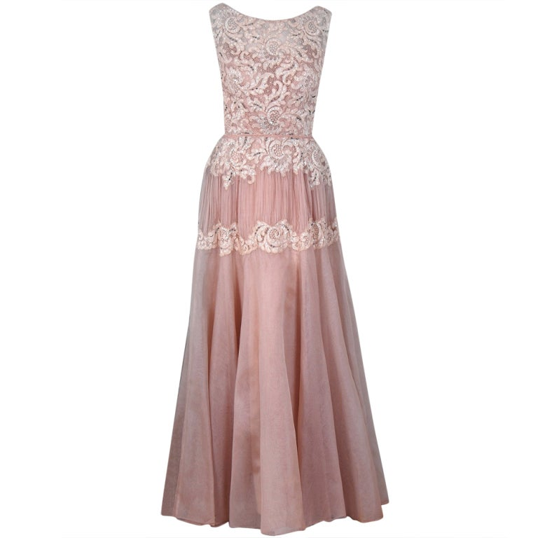 1950's Elizabeth Arden Beaded Champagne Organza & Lace Gown 1