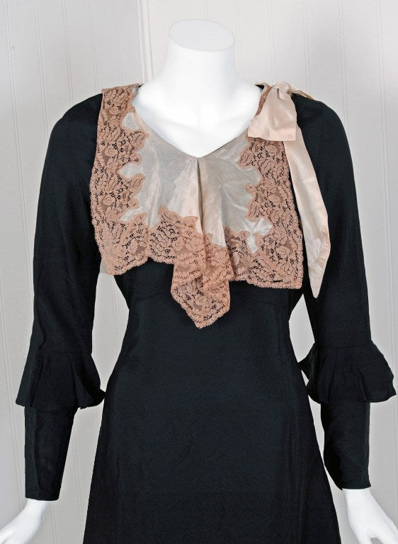 1930's Elegant Black Silk & Ivory Satin Poet-Sleeves Day Dress 2