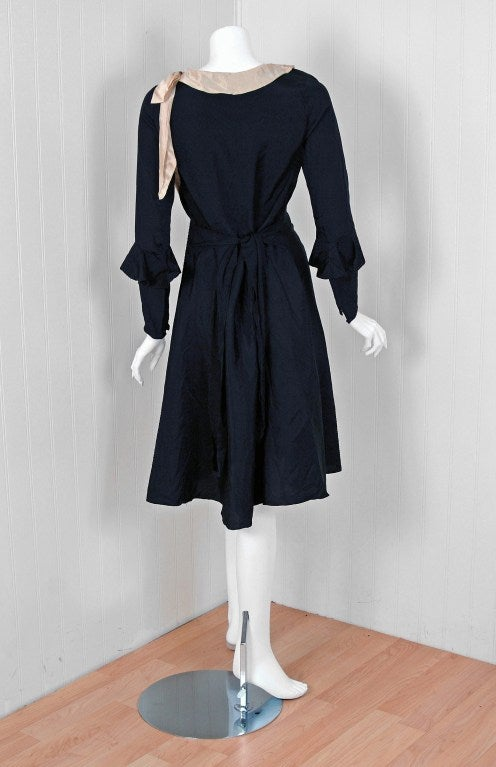 1930's Elegant Black Silk & Ivory Satin Poet-Sleeves Day Dress 4