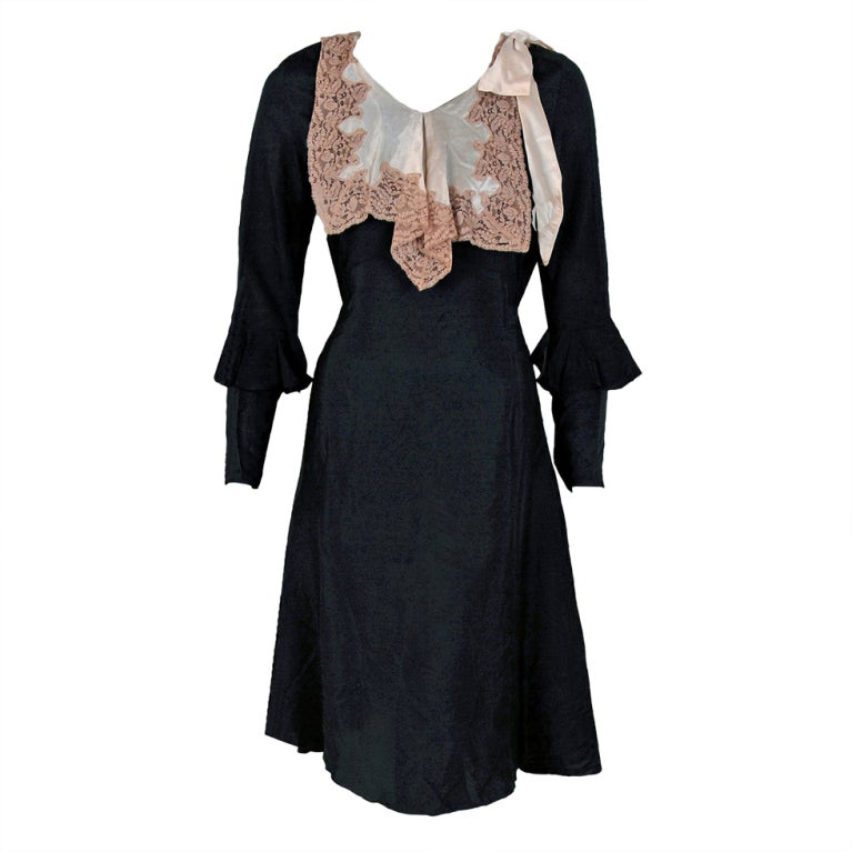 1930's Elegant Black Silk & Ivory Satin Poet-Sleeves Day Dress 1