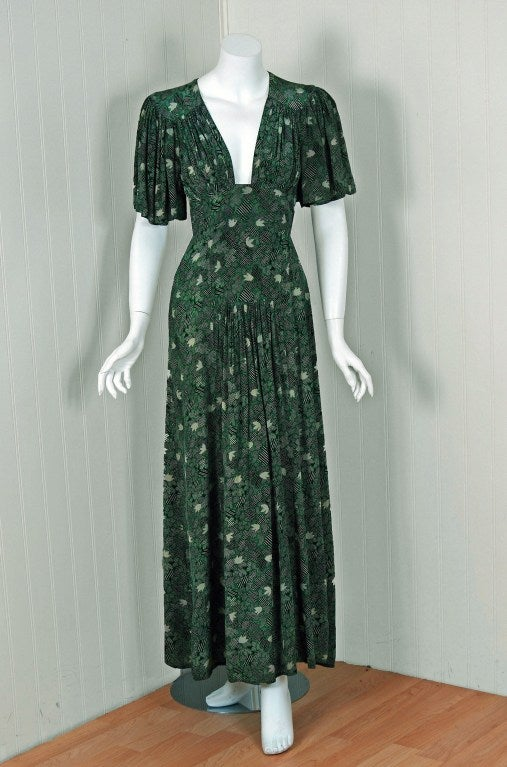 1970's Ossie Clark Green-Silk Celia Birtwell Print Plunge Dress 2