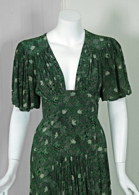 1970's Ossie Clark Green-Silk Celia Birtwell Print Plunge Dress 3