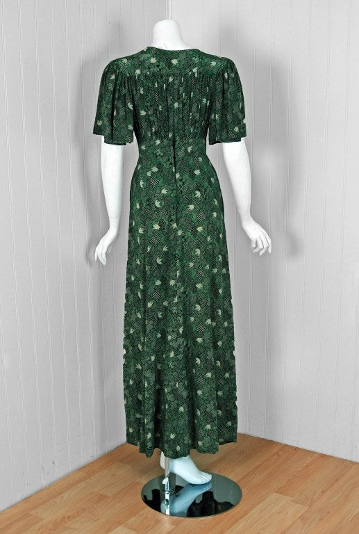 1970's Ossie Clark Green-Silk Celia Birtwell Print Plunge Dress 5