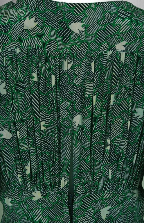 1970's Ossie Clark Green-Silk Celia Birtwell Print Plunge Dress 6