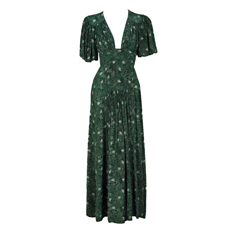 1970's Ossie Clark Green-Silk Celia Birtwell Print Plunge Dress 1