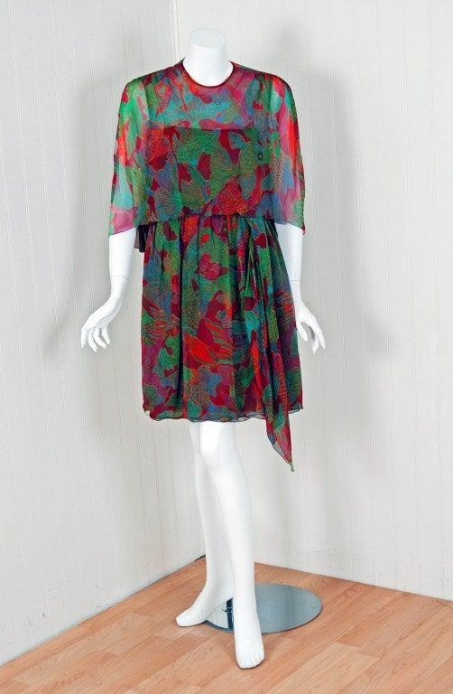 1960's Galanos Watercolor Novelty Fish Print Silk-Chiffon Capelet Belted Dress 2