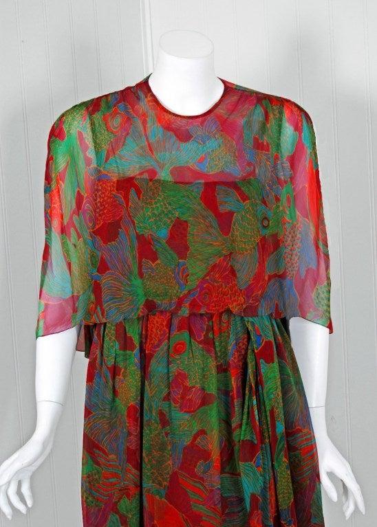 1960's Galanos Watercolor Novelty Fish Print Silk-Chiffon Capelet Belted Dress 3