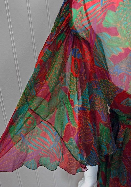 1960's Galanos Watercolor Novelty Fish Print Silk-Chiffon Capelet Belted Dress 4