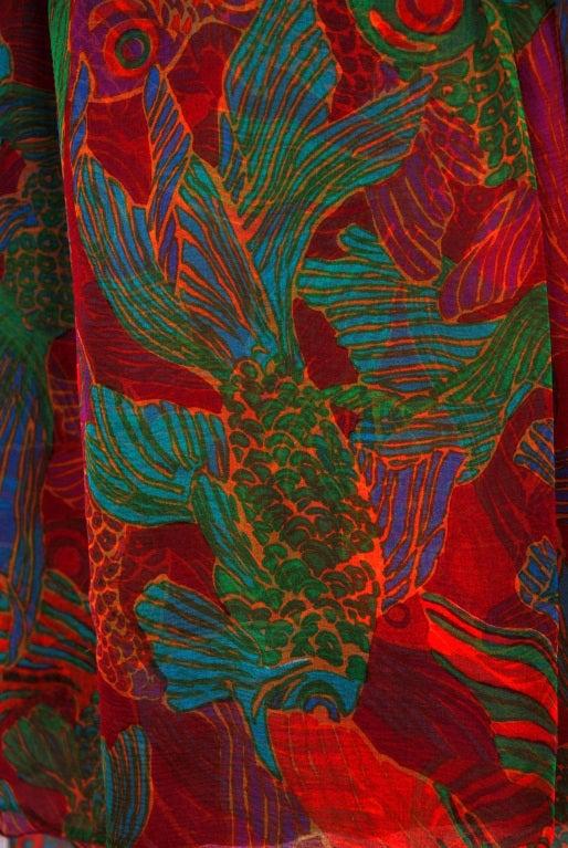 1960's Galanos Watercolor Novelty Fish Print Silk-Chiffon Capelet Belted Dress 5