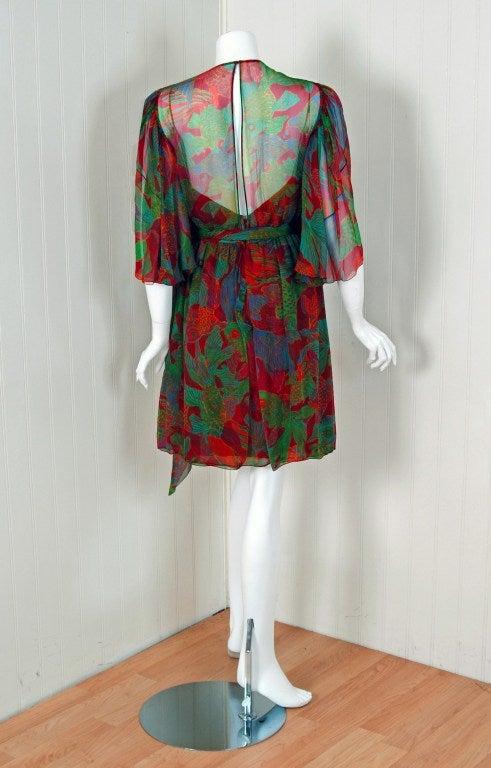 1960's Galanos Watercolor Novelty Fish Print Silk-Chiffon Capelet Belted Dress 6