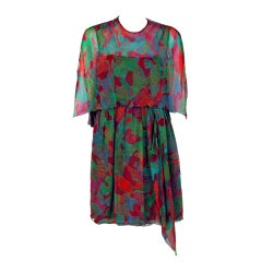 1960's Galanos Watercolor Novelty Fish Print Silk-Chiffon Capelet Belted Dress