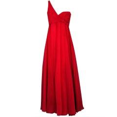 1970's Ruben Panis One-Shoulder Magenta Chiffon Grecian Gown
