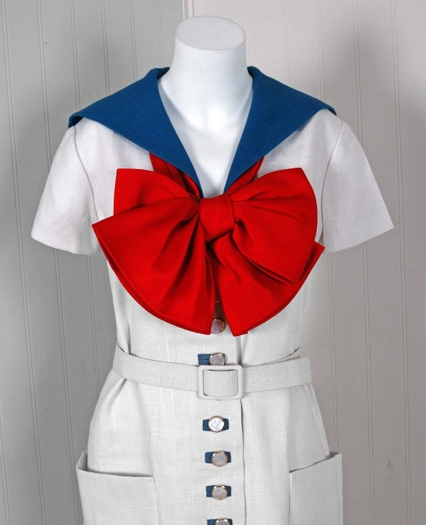 Gray 1968 Norman Norell Couture Nautical Sailor Bow Novelty White Linen Belted Dress For Sale