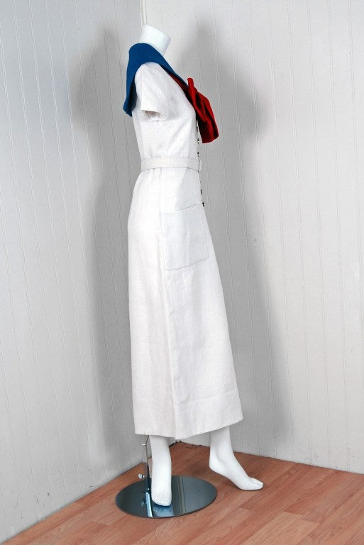 1968 Norman Norell Couture Nautical Sailor Bow Novelty White Linen Belted Dress In Excellent Condition For Sale In Beverly Hills, CA