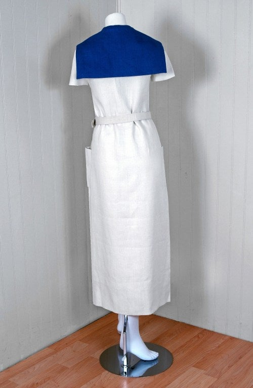 Women's 1968 Norman Norell Couture Nautical Sailor Bow Novelty White Linen Belted Dress For Sale