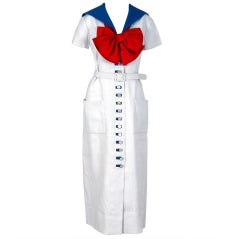 1968 Norman Norell Couture Nautical Sailor Bow Novelty White Linen Belted Dress