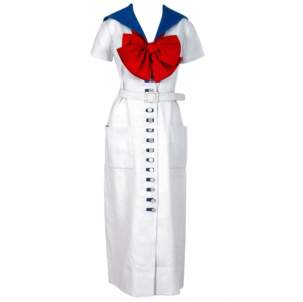 1968 Norman Norell Couture Nautical Sailor Bow Novelty White Linen Belted Dress For Sale
