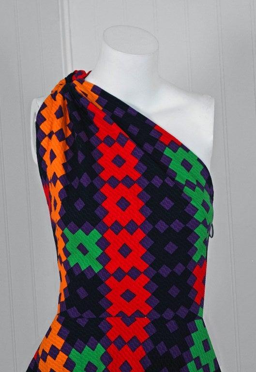 Black 1970's Lanvin Couture Colorful Textured Pique Cotton One-Shoulder Maxi Dress For Sale