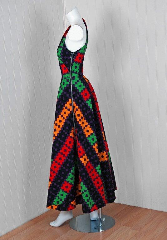 Women's 1970's Lanvin Couture Colorful Textured Pique Cotton One-Shoulder Maxi Dress For Sale