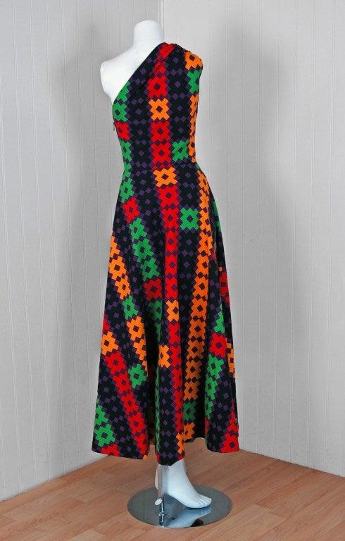 1970's Lanvin Couture Colorful Textured Pique Cotton One-Shoulder Maxi Dress For Sale 1
