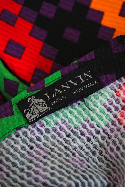 1970's Lanvin Couture Colorful Textured Pique Cotton One-Shoulder Maxi Dress For Sale 2