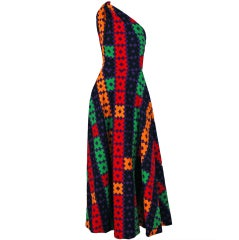 1970's Lanvin Couture Colorful Textured Pique Cotton One-Shoulder Maxi Dress